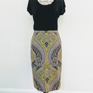 J. Crew Neon Paisley Pencil Skirt Size 6